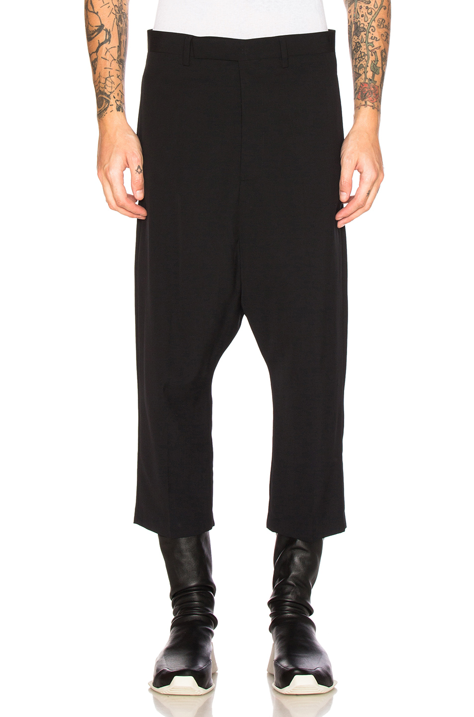 Rick Owens Extreme Cropped Pants in Black