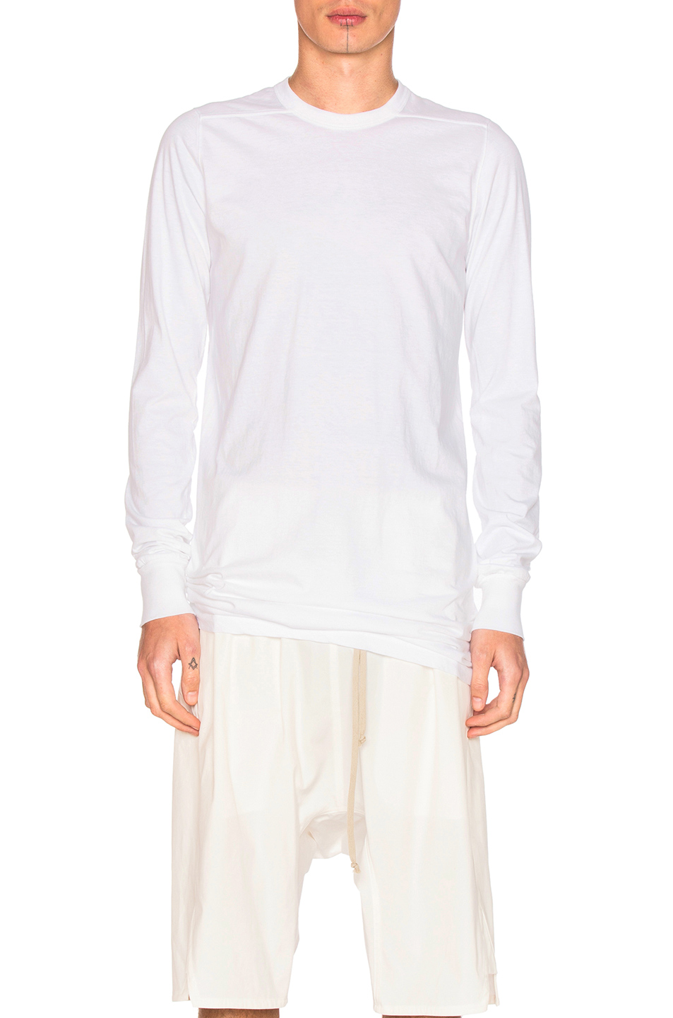 Rick Owens Long Sleeve Level Tee in White