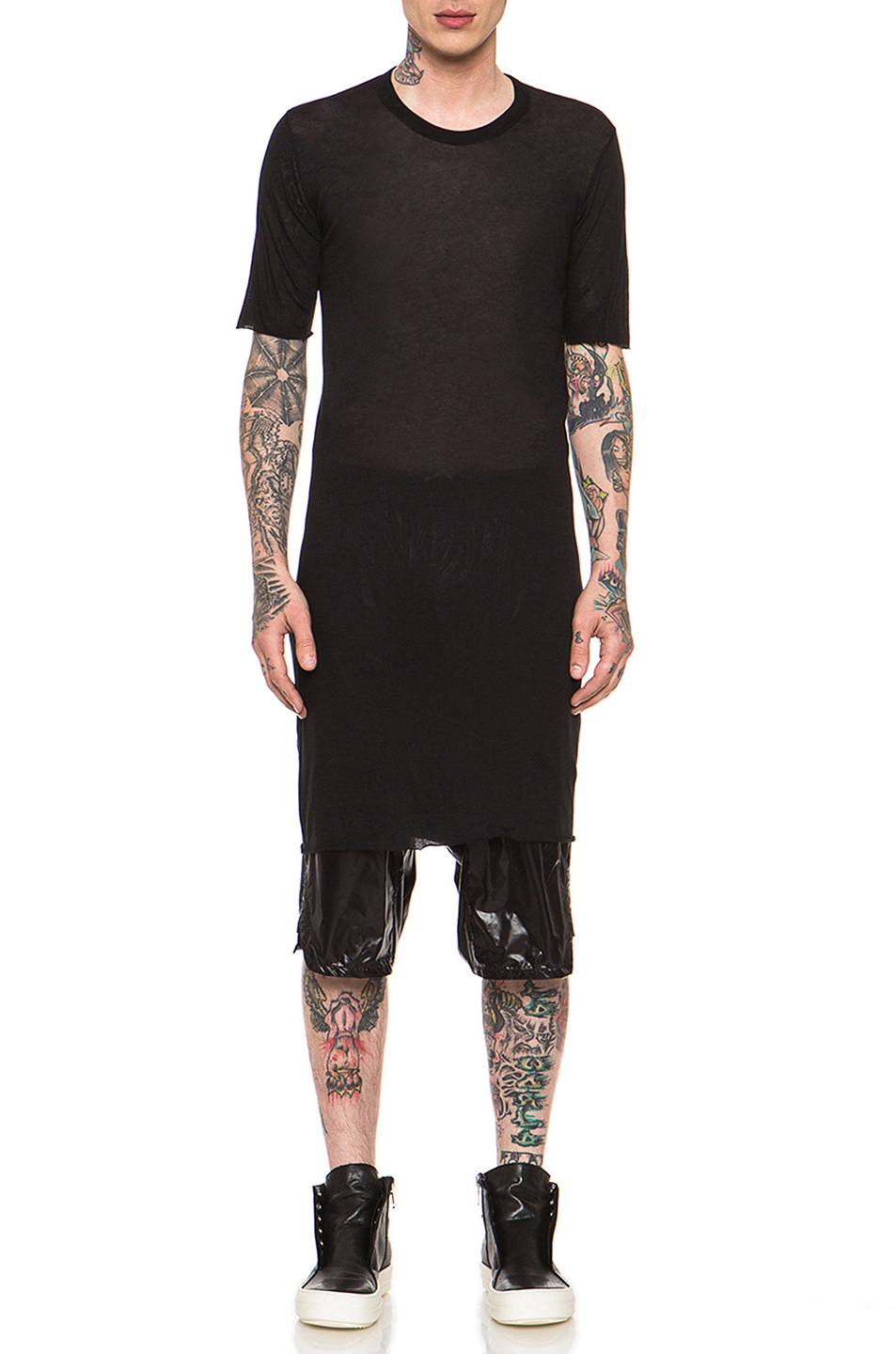 Rick Owens Short Sleeve Crew Neck Tee in Black