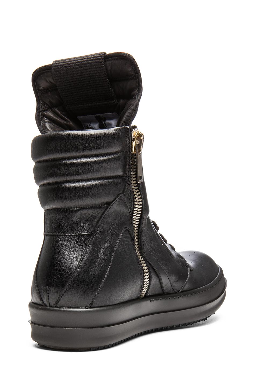 rick owens geobasket leather sneaker in black fwrd. Black Bedroom Furniture Sets. Home Design Ideas