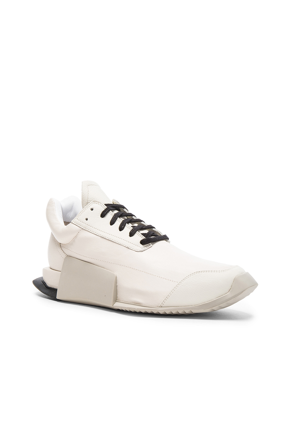 Photo of Rick Owens x Adidas Leather Level Runners in White - shop Rick Owens menswear
