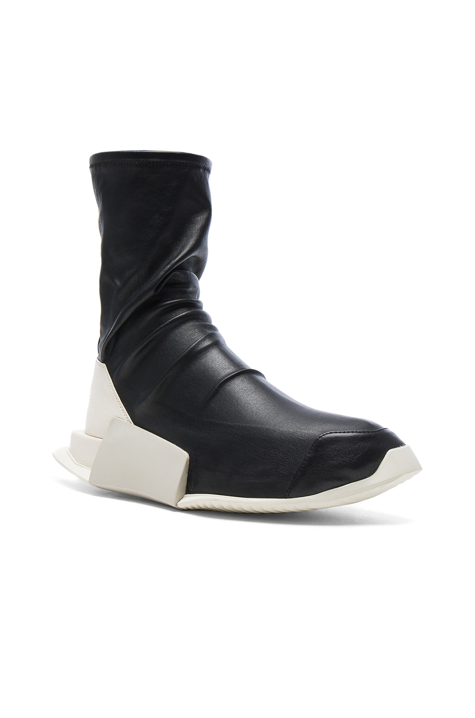 Photo of Rick Owens x Adidas Level Stretch Leather Socks in Black - shop Rick Owens menswear