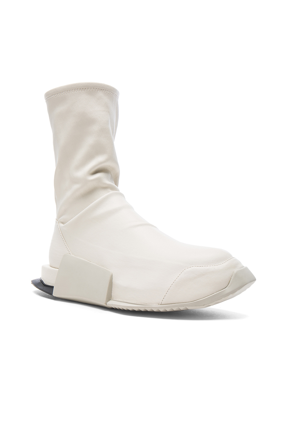 Photo of Rick Owens x Adidas Level Stretch Leather Socks in White - shop Rick Owens menswear