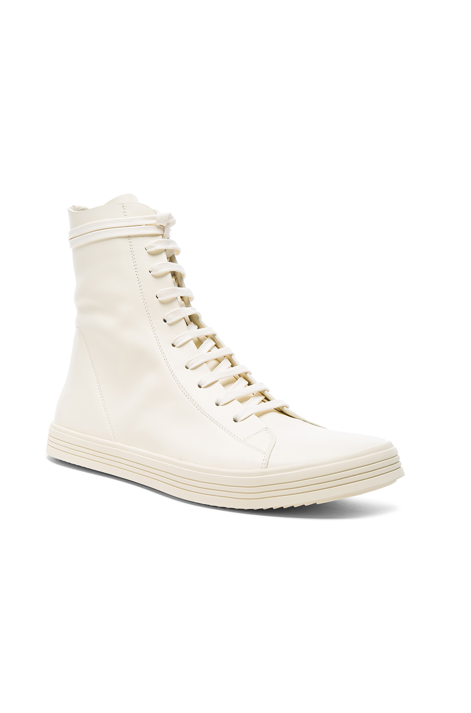 Rick Owens Leather Mastodon Sneaks in White