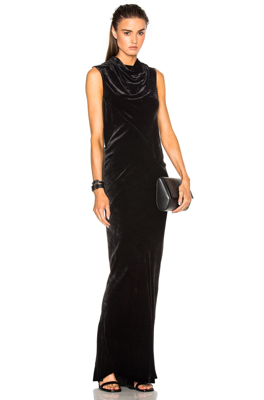 Rick Owens Velvet Bonnie Dress in Black