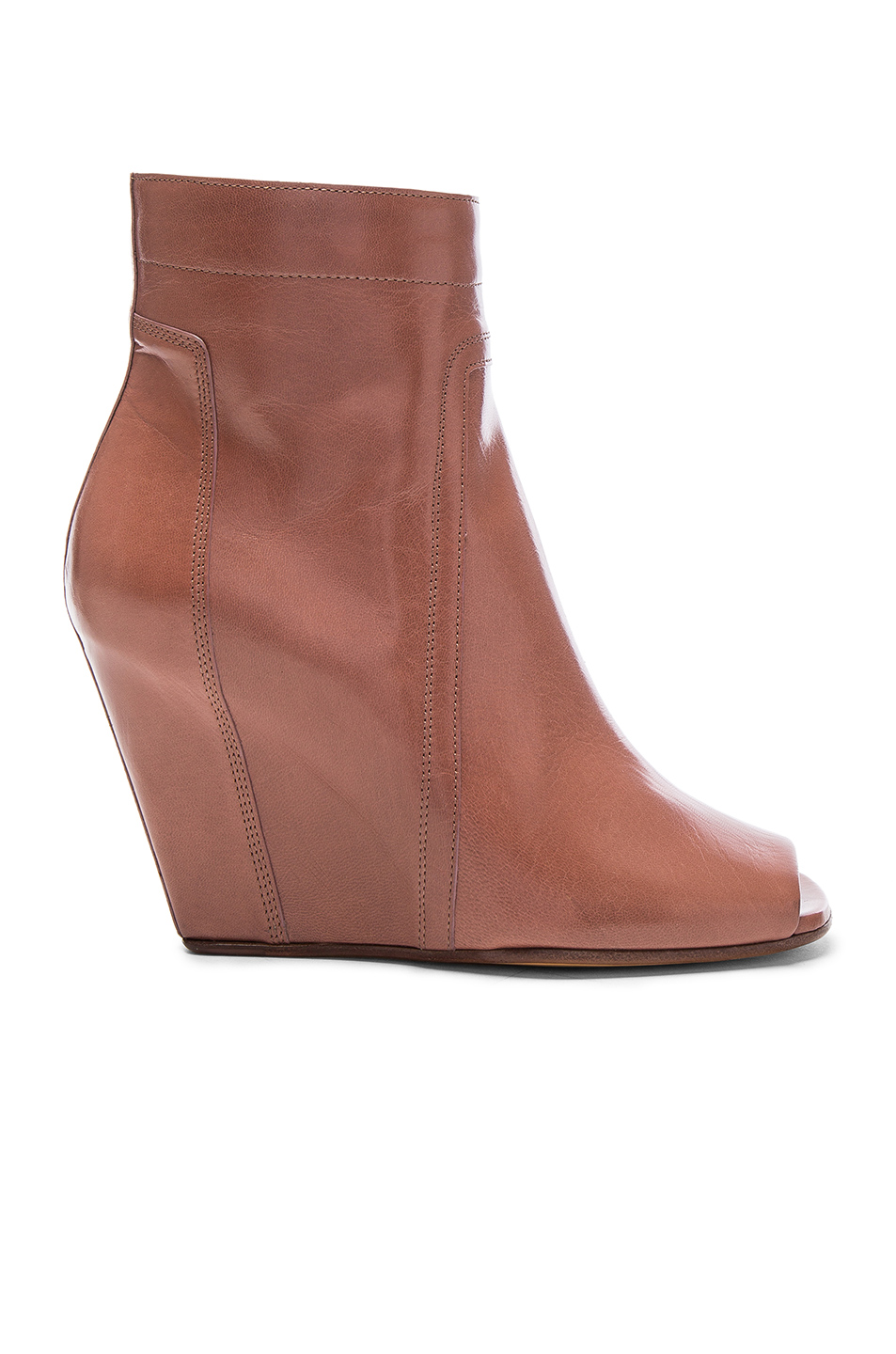 Rick Owens Open Toe Leather Wedges in Brown