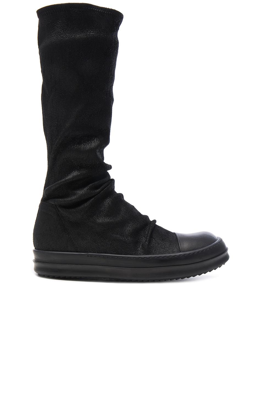 Rick Owens Leather Sock Sneaks in Black