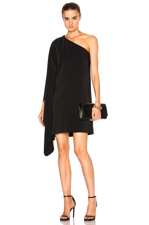 Rosetta Getty One Shoulder Scarf Dress in Black