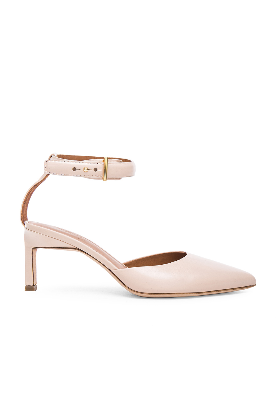 Rosetta Getty Leather Pointed Mid Heels in Neutrals