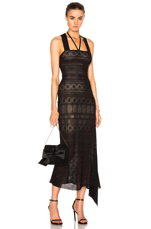 Roland Mouret Stevan Circular Lace Knit Dress in Black