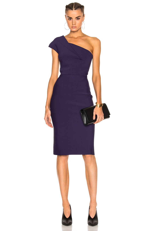 Roland Mouret Brattle Double Faced Viscose Knit Midi Dress in Purple