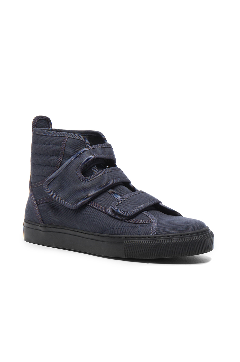 Raf Simons High Top Velcro Sneakers in Gray