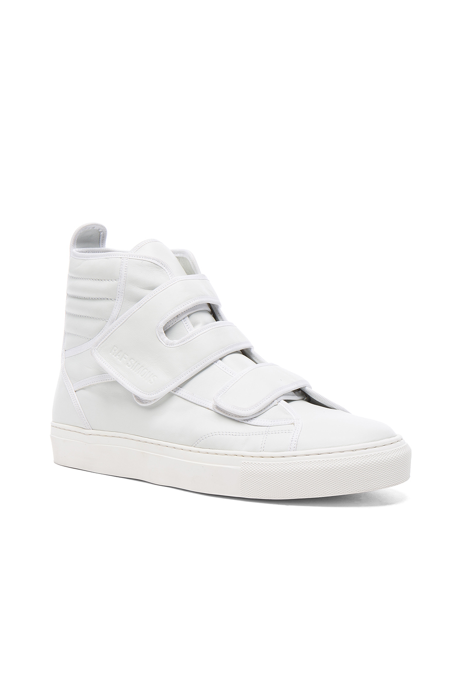 Raf Simons High Top Velcro Sneakers in White