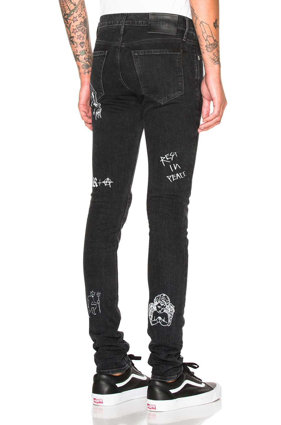 RtA Printed Jeans in Black