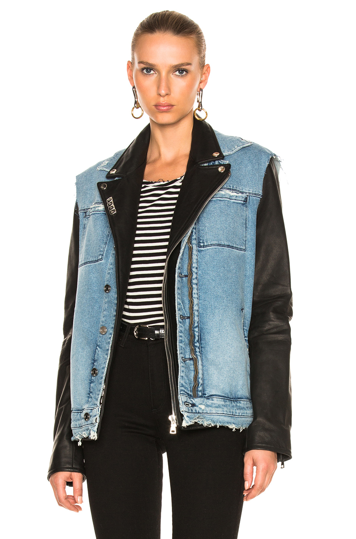 RtA Leather & Denim Detach Jacket in Blue,Black