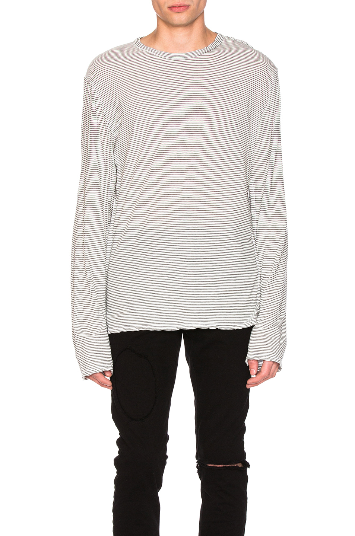 RtA Long Sleeve Shirt in White,Stripes,Black