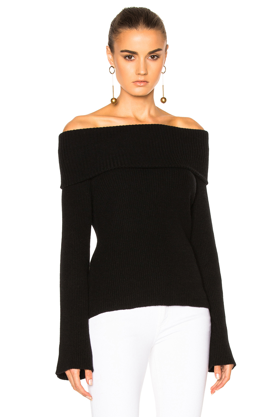 Ryan Roche FWRD Exclusive Off the Shoulder Sweater in Black