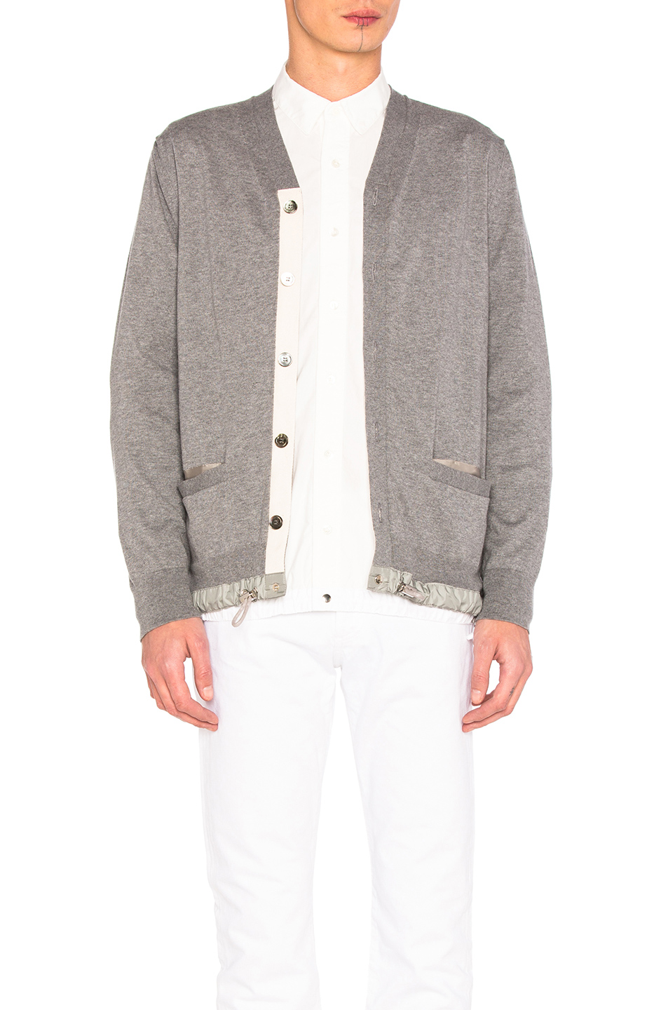 Sacai Cotton Cashmere Knit Cardigan in Gray