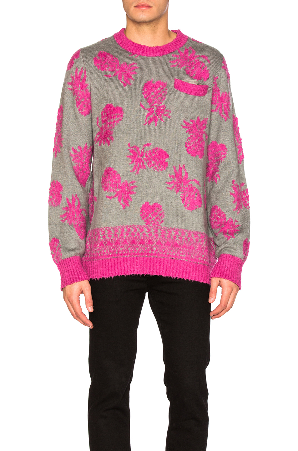 Sacai Pineapple Knit Pullover in Gray,Abstract,Pink
