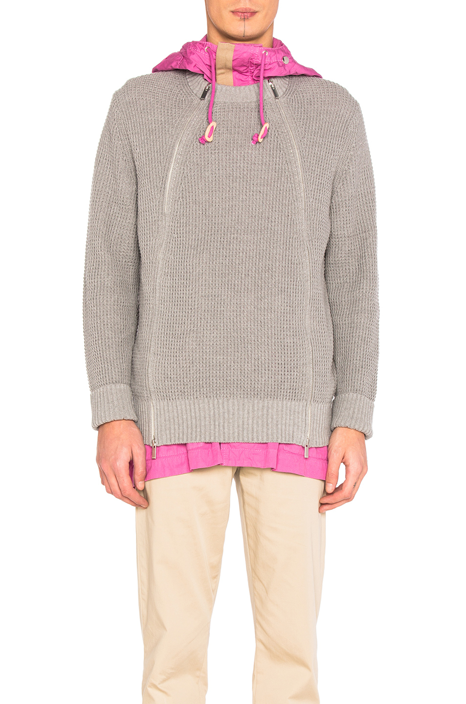 Sacai Chunky Knit Blouson in Gray,Pink