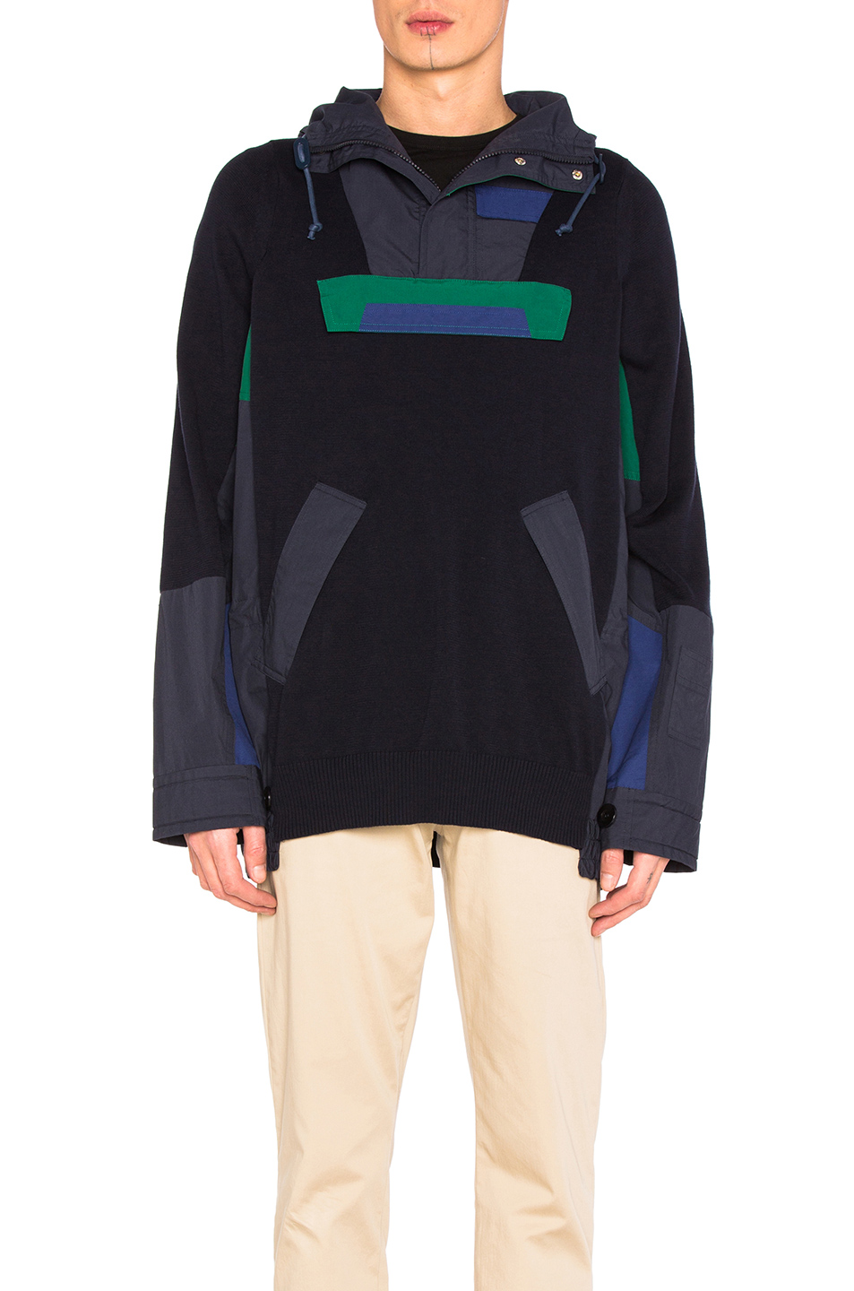 Sacai Cotton Knit Blouson in Blue