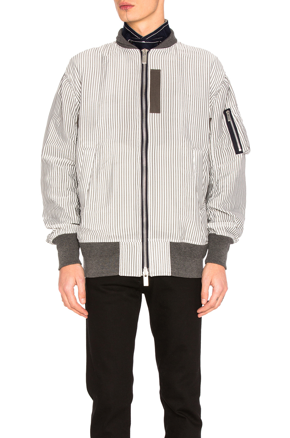Sacai Hickory Stripe Blouson in Black,White,Stripes