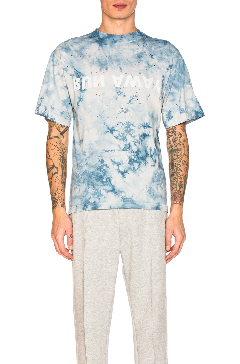 Satisfy Run Away Moth Eaten Tee in Blue,Ombre & Tie Dye