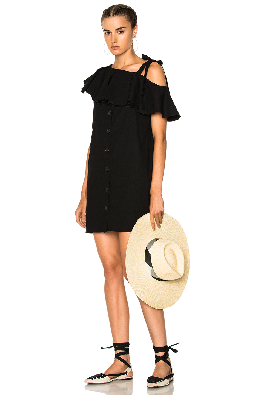 Sea Lone Shoulder Shift Dress in Black