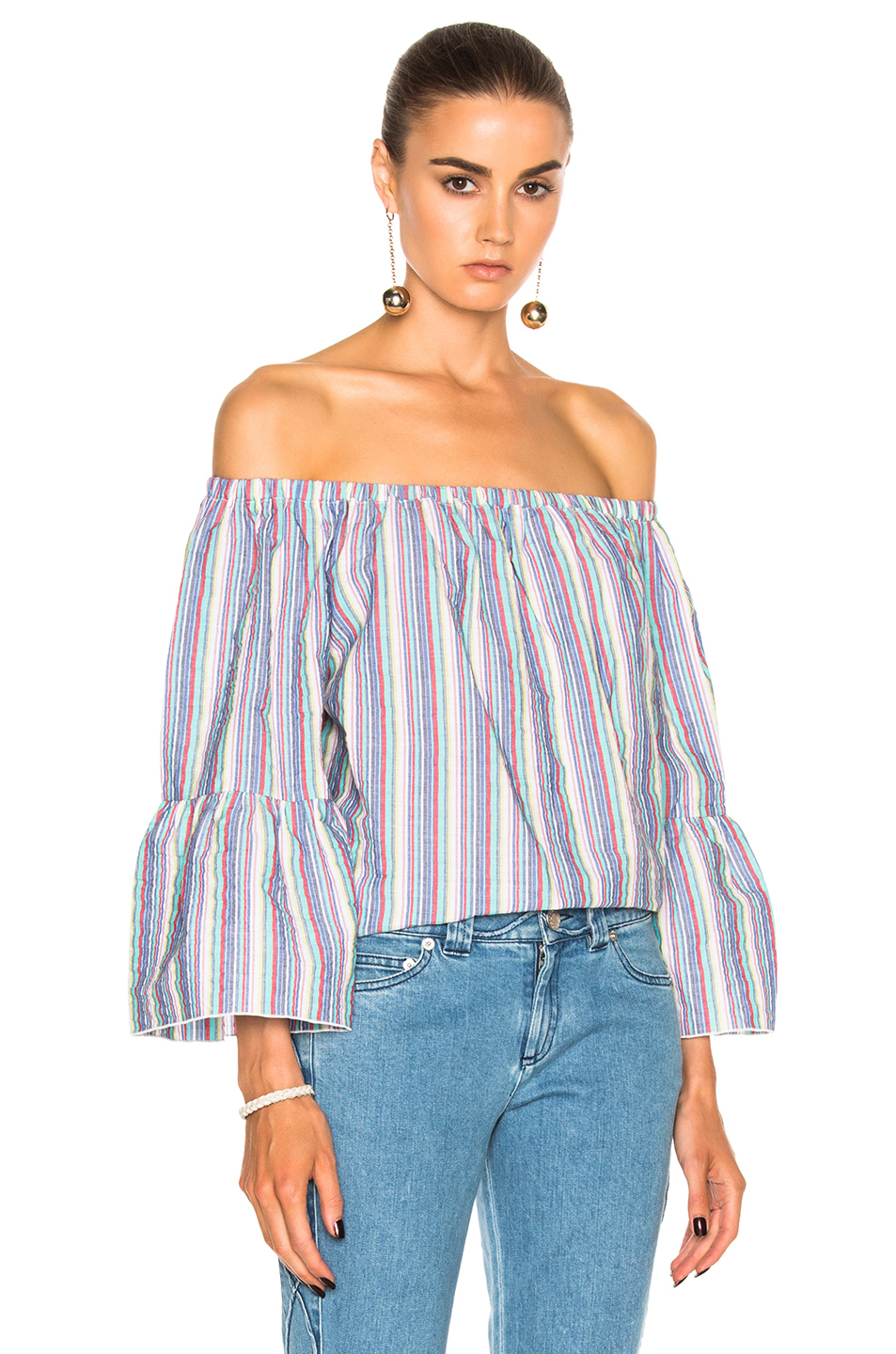 See By Chloe Off the Shoulder Top in Blue,Stripes