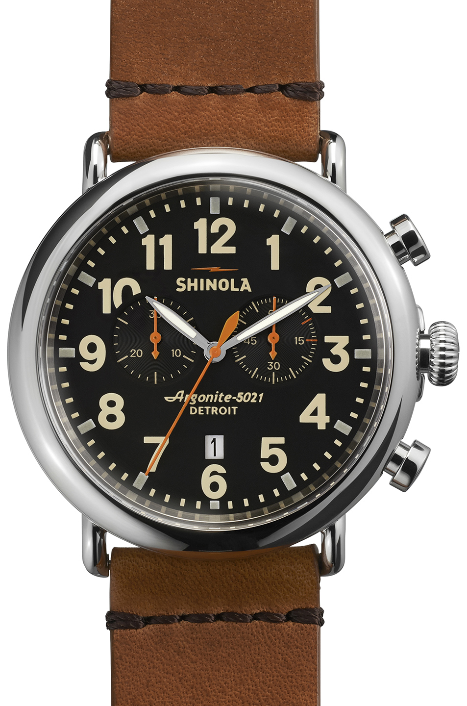 Shinola The Runwell Chrono 47mm in Brown,Metallics