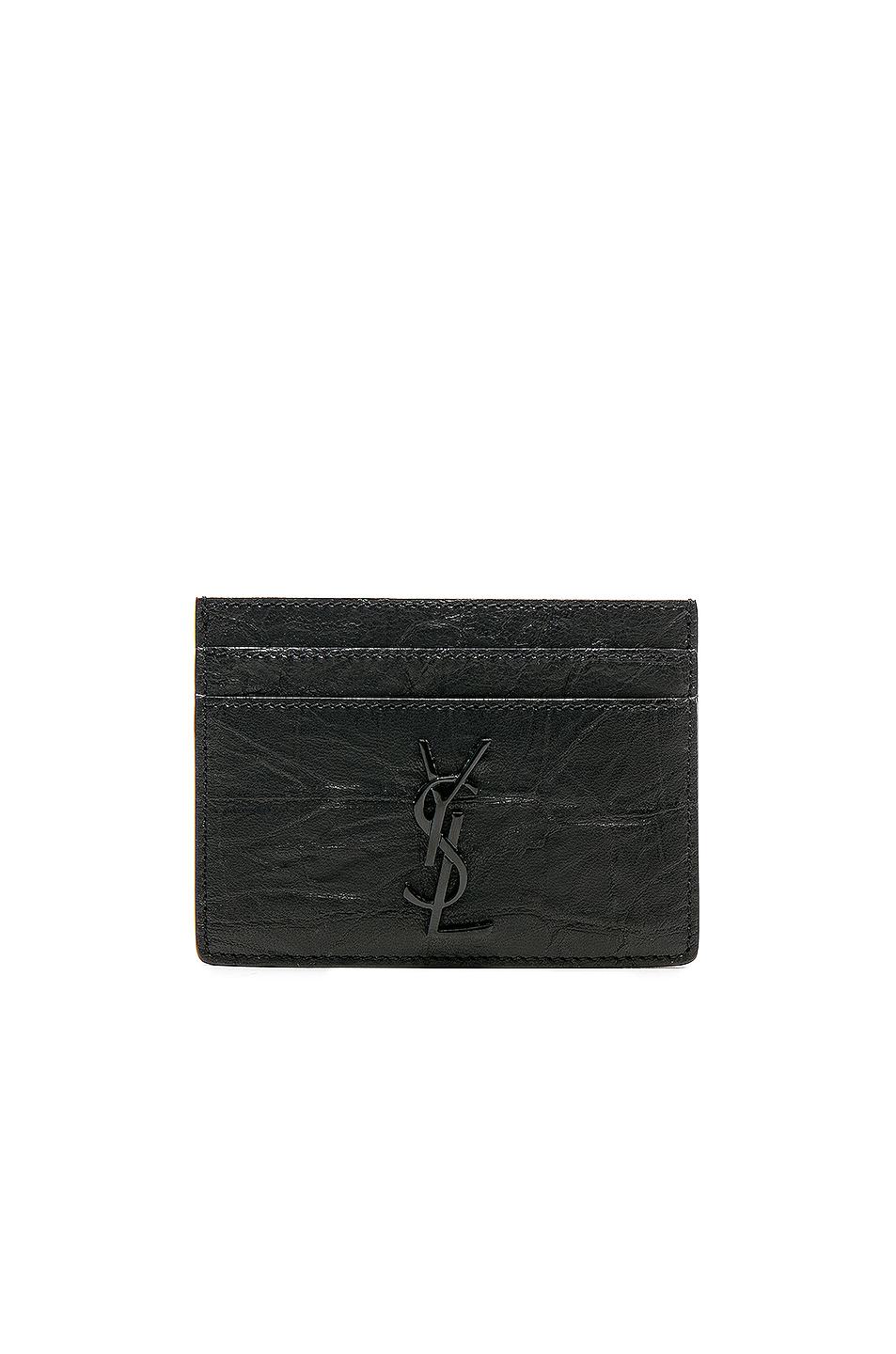 Saint Laurent Croc Embossed Cardholder in Black