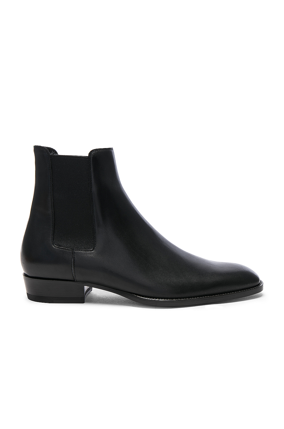 Saint Laurent Leather Wyatt Chelsea Boots in Black