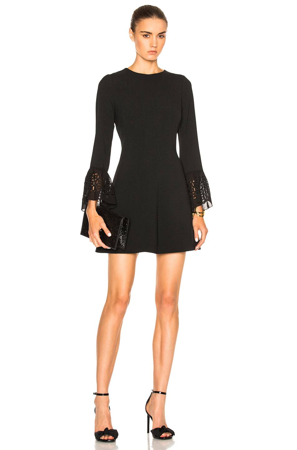 Saint Laurent Embroidered Sleeve Dress in Black