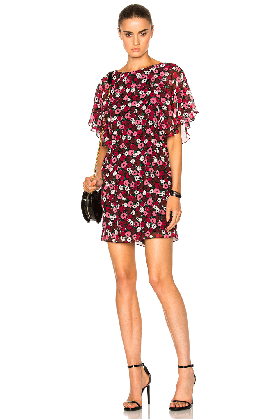 Saint Laurent Georgette Dress in Red,Floral