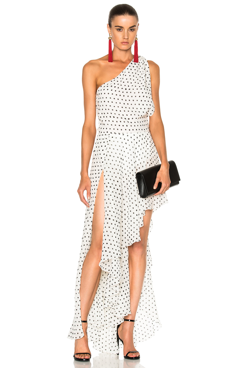 Saint Laurent Georgette One Shoulder Asymmetrical Dress in Geometric Print,White