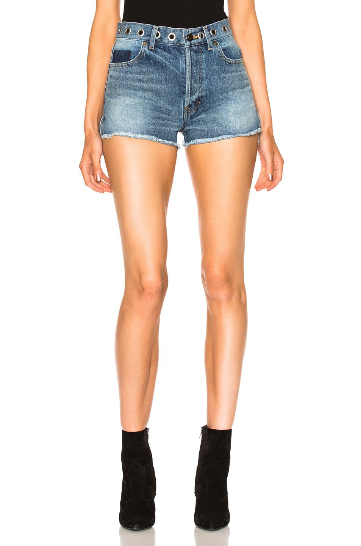 Saint Laurent Boyfriend Eyelet Shorts in Blue