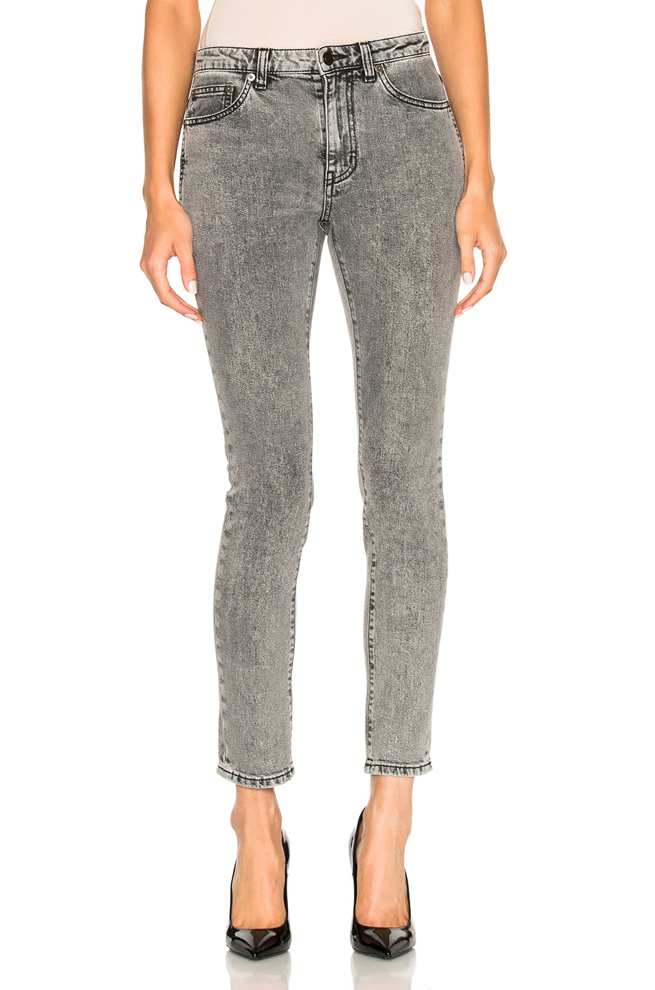 Saint Laurent Cropped Skinny Jeans in Gray