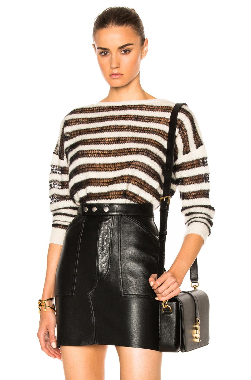 Saint Laurent Mohair Pullover Sweater in White,Black,Stripes