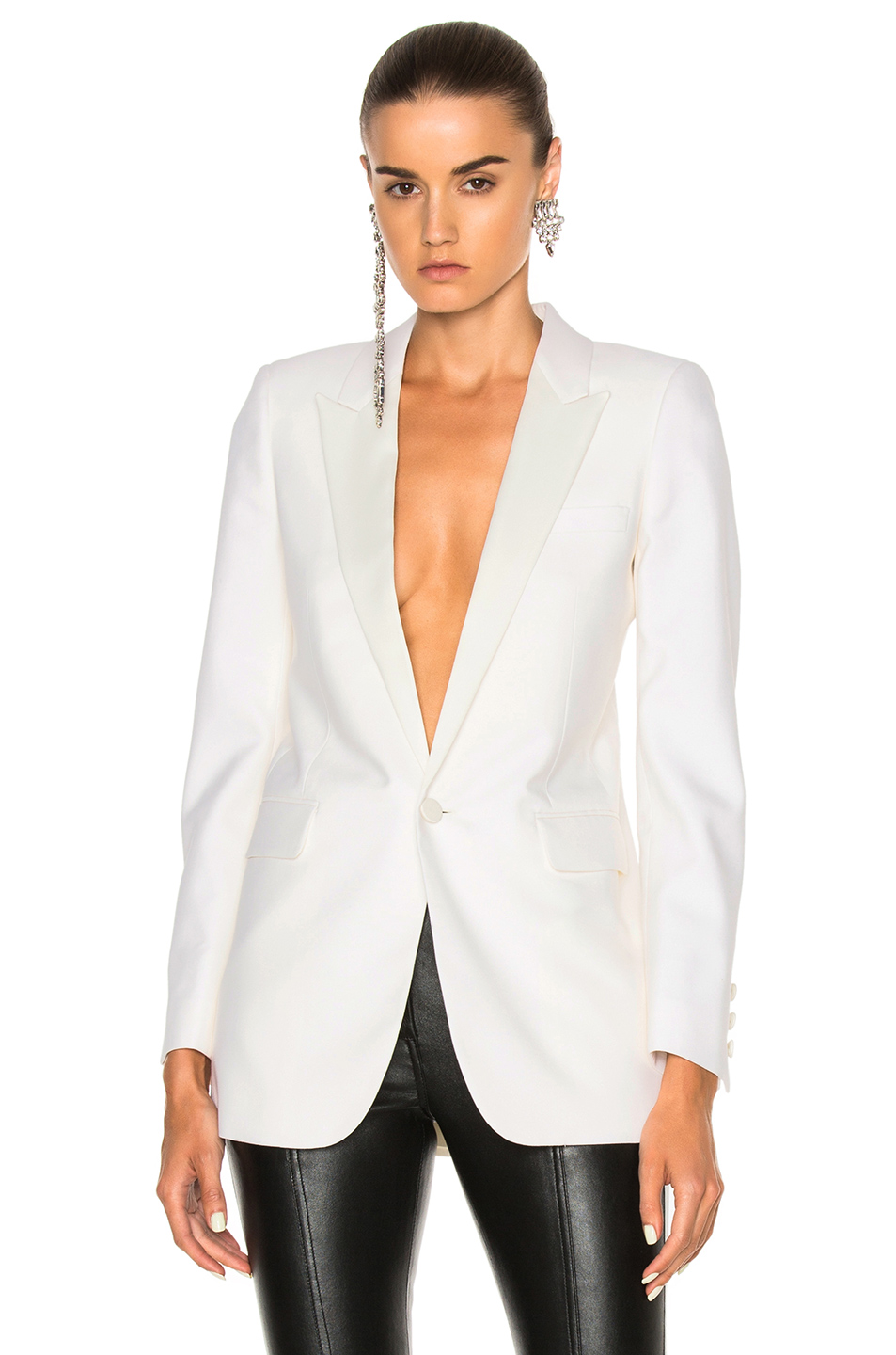Saint Laurent Mohair Smoking Jacket in White