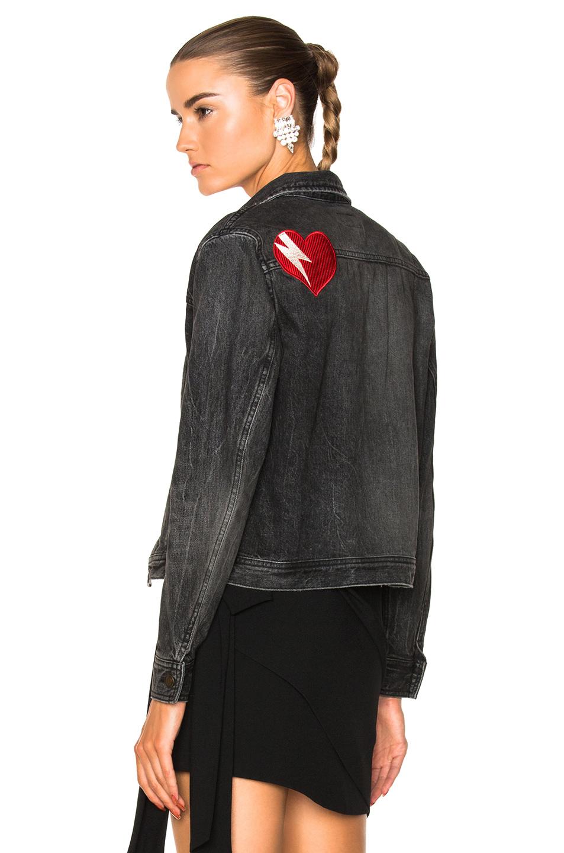 Saint Laurent Heart Patch Denim Jacket in Black,Gray