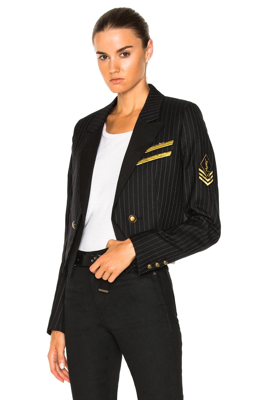 Saint Laurent Pinstripe Military Jacket in Black,Stripes