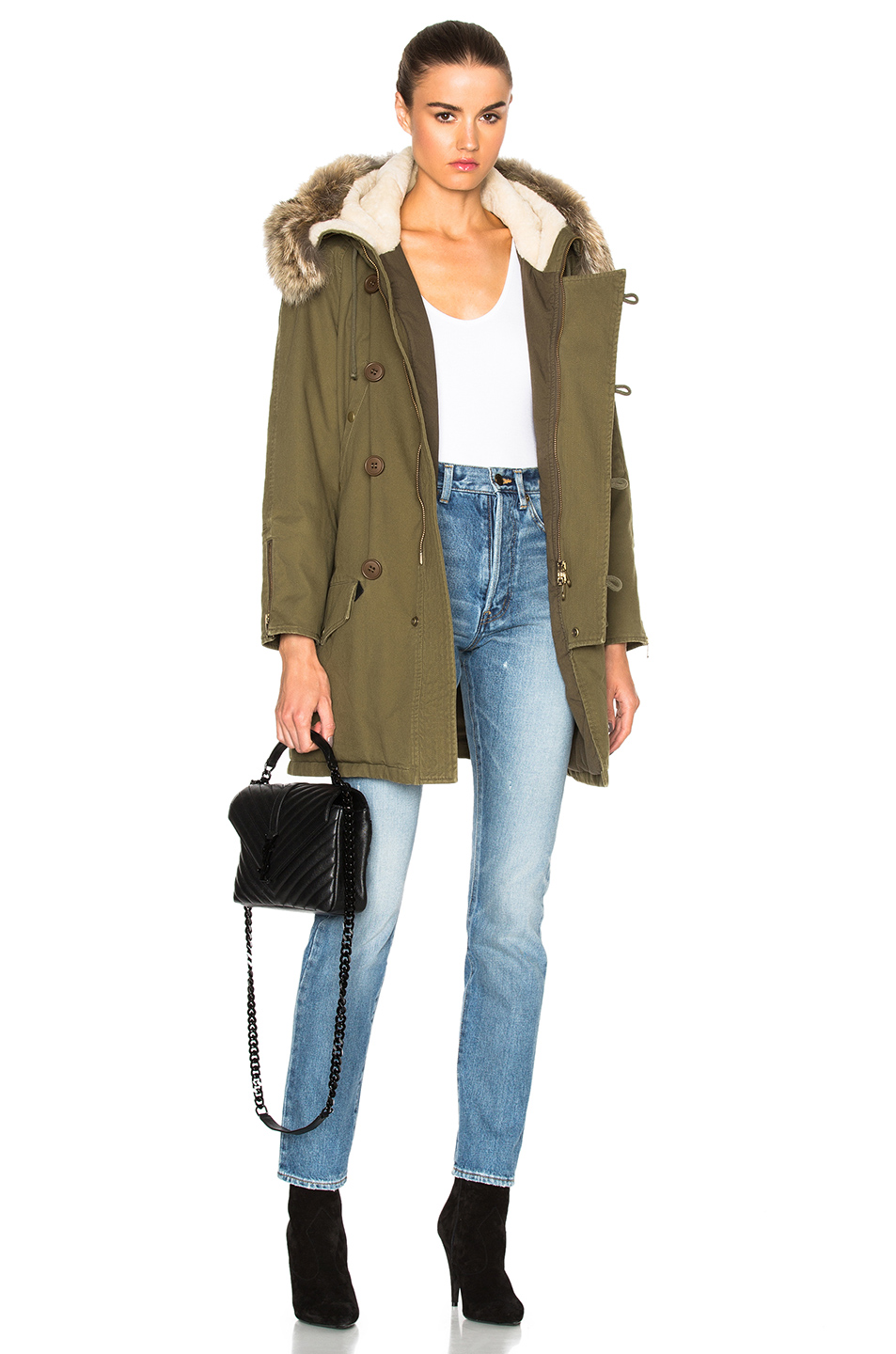 Saint Laurent Military Parka with Fur Hood in Green