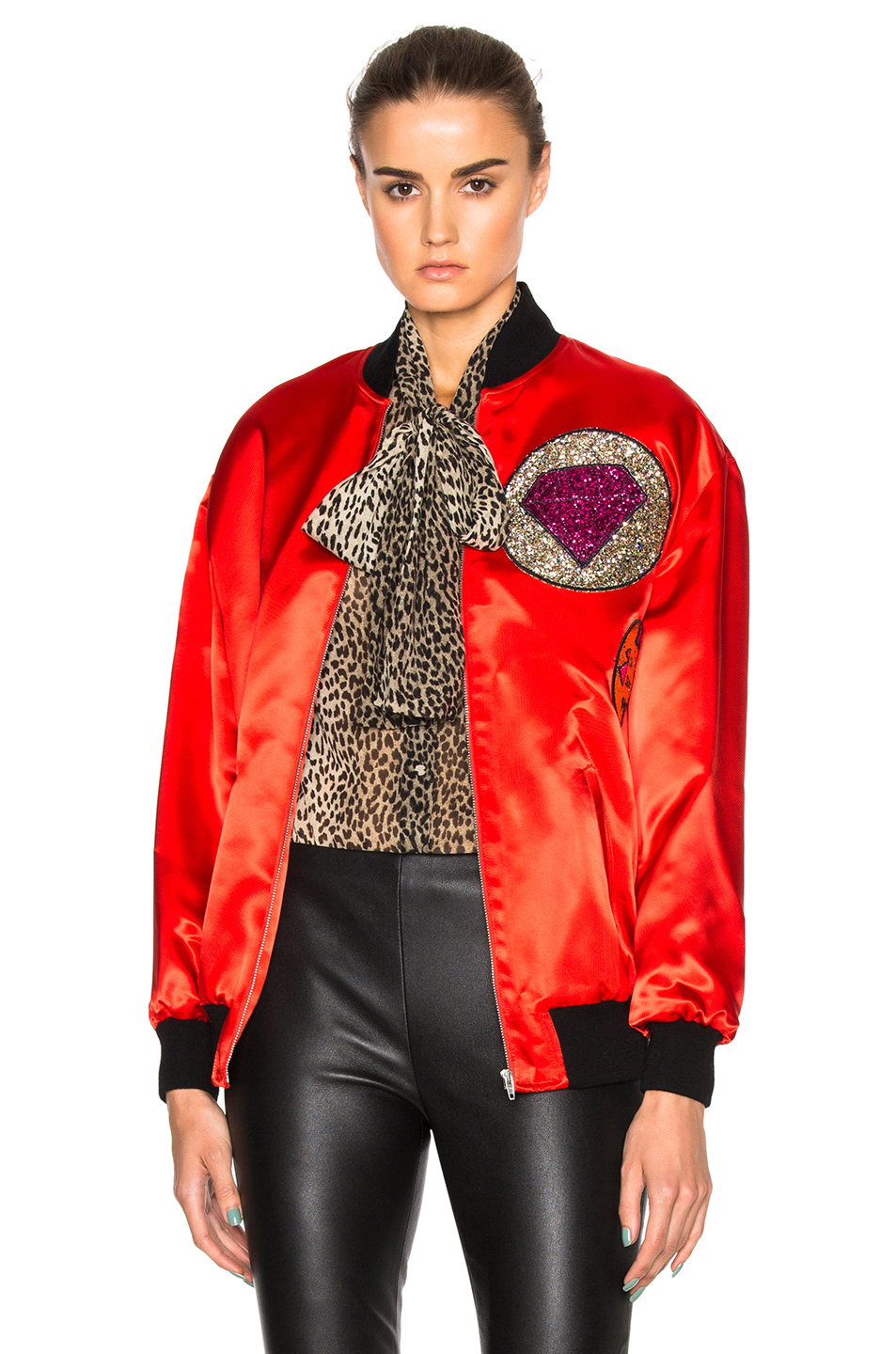 Saint Laurent Oversize Multi Patch Teddy Jacket in Red