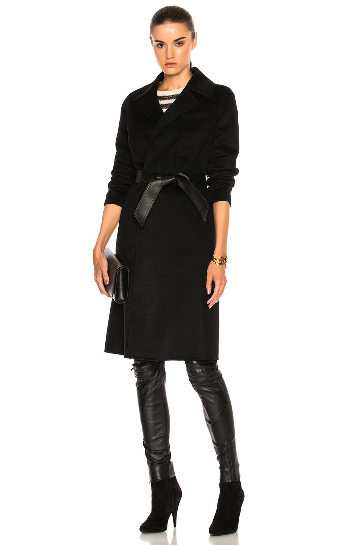 Saint Laurent Cashmere Double Face Coat in Black