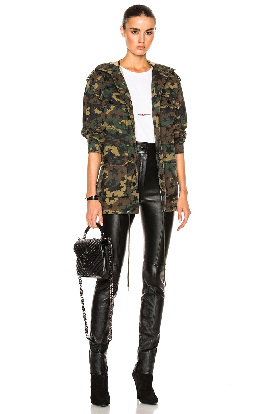 Saint Laurent Army Camouflage Jacket with Stars in Abstract,Brown,Green,Neutrals
