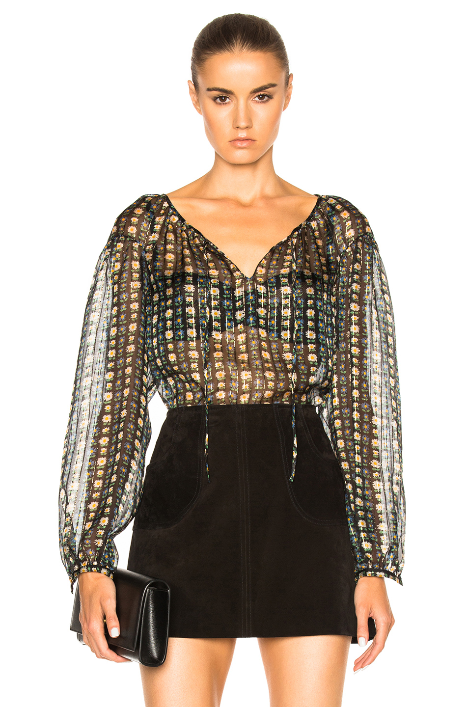 Saint Laurent Blouson Blouse in Black,Floral