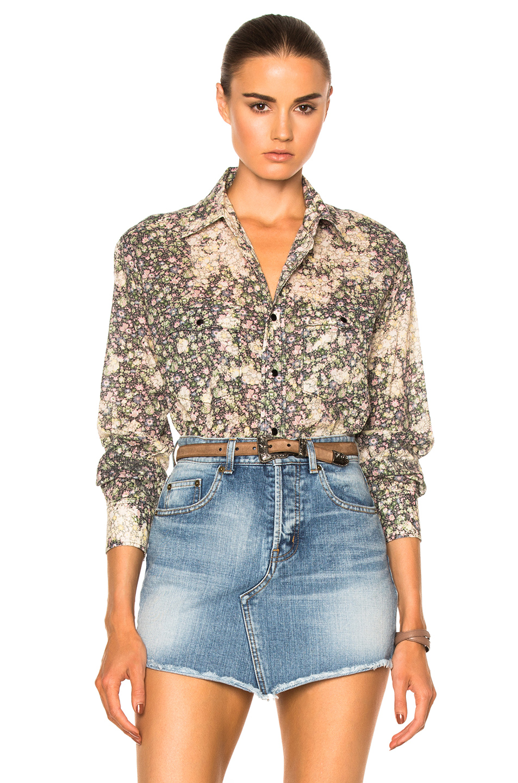 Saint Laurent Oversized 70's Shirt in Floral,Green