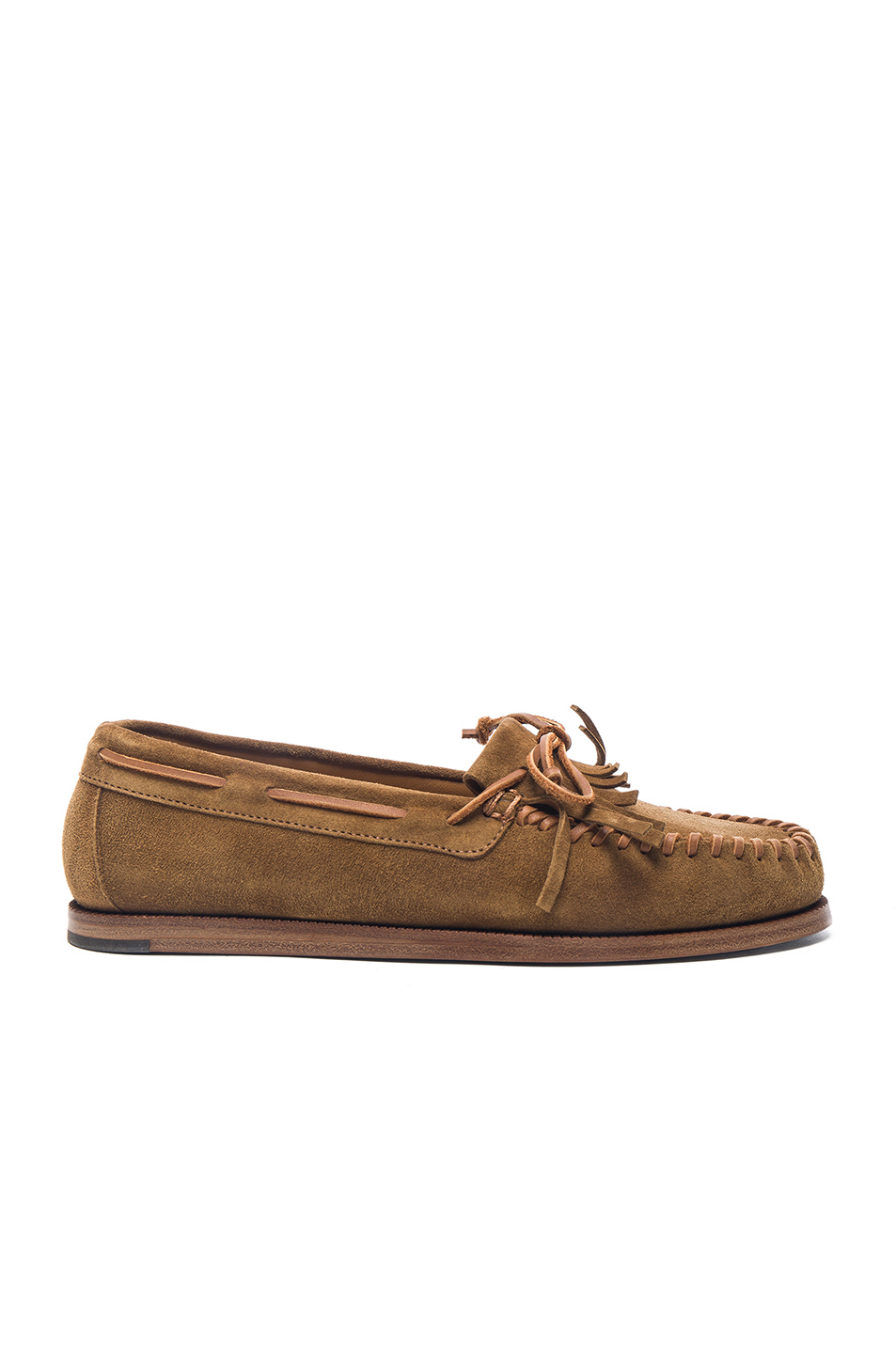Saint Laurent Suede Indian Moccasins in Brown