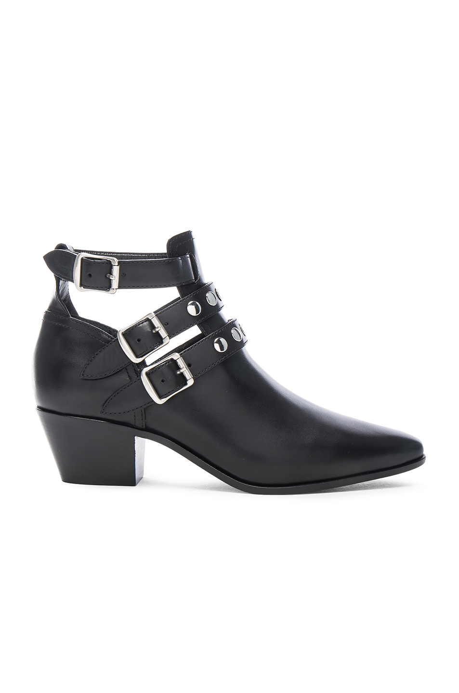 Saint Laurent Rock Rivet Stud Leather Boots in Black