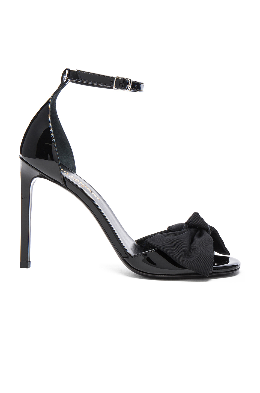Saint Laurent Patent Leather Jane Bow Sandals in Black